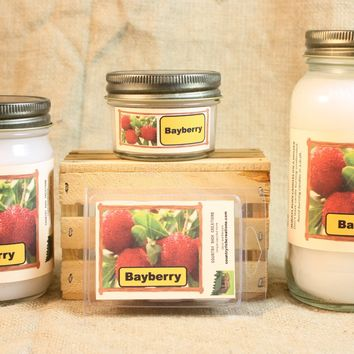 Bayberry Candle and Wax Melts, Holiday Scent Candle, Highly Scented Candles and Wax Tarts, Christmas Bayberry Scent, Mason Jar Candle