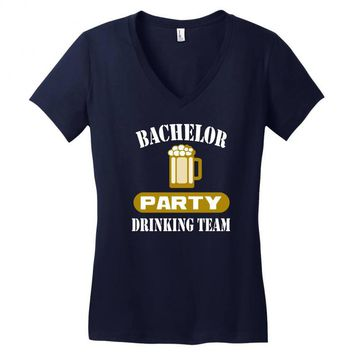 bachelor party drinking team wedding groomsmen bridal funny Women's V-Neck T-Shirt