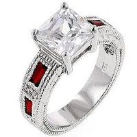 "Alexander James ""Street"" Silver-tone Red Cubic Zirconia Prima Donna Cocktail Ring Size 07"