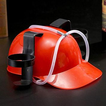Funny Beverage Helmet Drinking Beer Soda Miner Can Holder Hat Cool Lazy Straw Cap Birthday Party Prop Toy