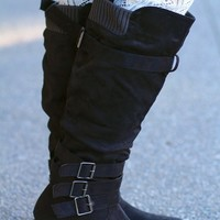 Together Forever Twin Buckle Tall Boot -Black
