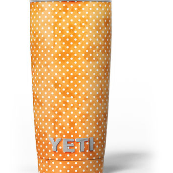 The Orange Grungy Watercolored Polka Dots Yeti Rambler Skin Kit