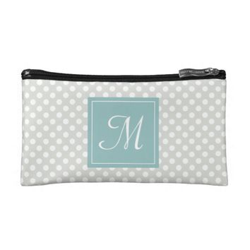 Polka dot turquoise cosmetic bag