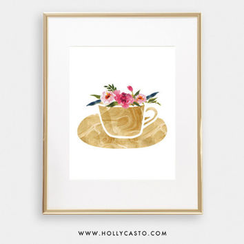 Floral Coffee Cup Instant Print