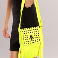 Neon Yellow Faux Leather Studded Satchel Handbag
