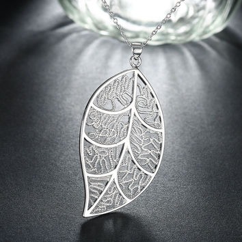 New Arrival Jewelry Stylish Shiny Gift Hot Sale Silver Accessory Innovative Leaf Necklace [9036680644]
