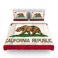 KESS InHouse California Flag Wood by Bruce Stanfield Light Cotton Duvet Cover