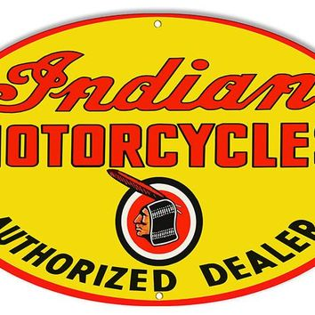 Authorized Indian Motorcycle Reproduction Sign 15″x24″ Oval