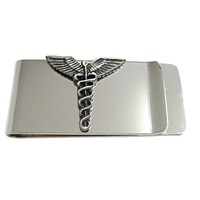 Textured Medical Symbol Caduceus Money Clip