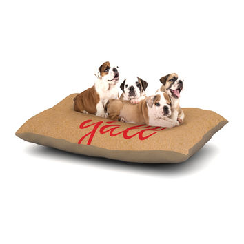 """KESS Original """"Hey Y'all - Red"""" Brown Red Dog Bed"""