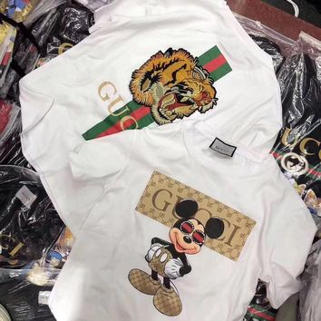 """Gucci"" Women Casual Fashion Cartoon Mickey Letter Print Tiger Head Embroidery Short Sleeve T-shirt Top Tee"
