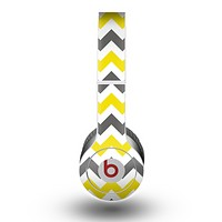 The Gray & Yellow Chevron Pattern copy Skin for the Beats by Dre Original Solo-Solo HD Headphones