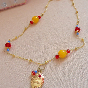 Princess Snow White Gold Beaded Red and Yellow Locket Necklace