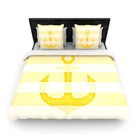 "Monika Strigel ""Stone Vintage Anchor Yellow"" Mustard White Woven Duvet Cover"