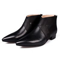 Black Genuine Leather Pointed Back Zipper Ankle Boots
