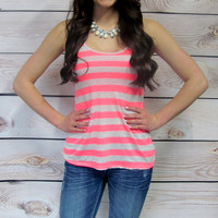 A - Fuschia Striped Tank