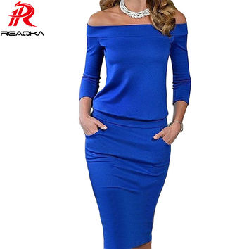 New Style Summer Dress Three Quarter Sleeve Slash Neck Womens Sexy Fashion Dresses Casual Party Night Blue Black Club Dress