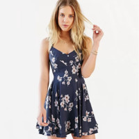 Floral Printed Spaghetti Strap Criss Cross Strappy Back Mini Dress [10907674831]