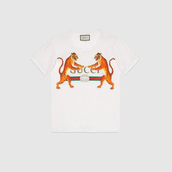 Gucci Summer Fashion 2018 Logo With Tigers White Men's T-Shirt S/M/L/XL