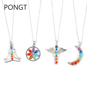 7 Chakra Stones Reiki Healing Point Chakra Pendant Tree Of Life Charm Pendant Ankh Yoga Jewelry Semi Precious Stone Necklace