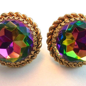 Watermelon SCHIAPARELLI Large Round Earrings, Gold Rope Trim, Exquisite Vintage