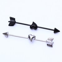 1pcs 1.2*35*5/6mm  Surgical Stainless Steel Spike Arrow 16G Industrial Barbell Piercing Helix Ear Piercing body Jewelry