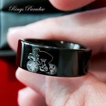 Sport Rings, Cycling Race Ring, Mens Tungsten Bands, Custom Made Rings, Tungsten