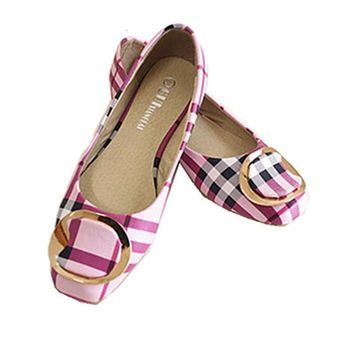 Flats Shoes Ladies Bow Square Toe Slip-On Flat Women's