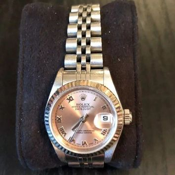 VONW3Q Ladies Stainless Steel Oyster Perpetual Date-Just Rolex Watch Rose gold face