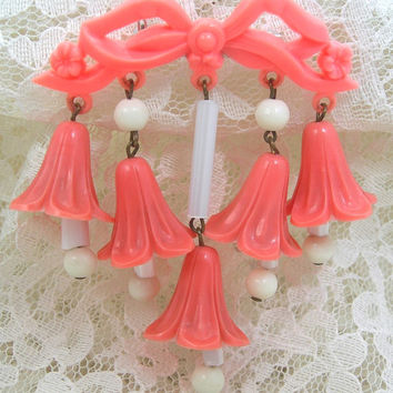 Art Deco Brooch, Early Plastic or Celluloid Coral Bell Flowers Dangling from a Bow, Vintage c1940s Costume Jewelry WWII Era