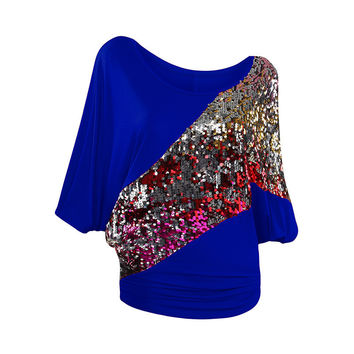 Women Blouse Batwing Sleeve Sequined Shirt 2017 Summer Blouse Sexy Casual Shirt Woman Tops Blusas Plus size S-3XL LJ8261C
