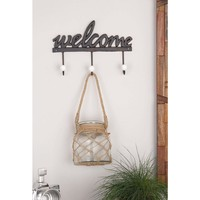 "Black Iron ""Welcome"" Wall Hook Rack with 3-Hooks-93243 - The Home Depot"