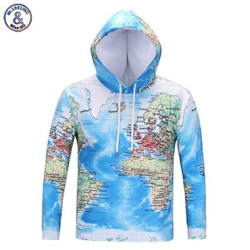 Mr.1991INC Cool Fashion Brand T-shirts Men/women 3d T-shirt Long Sleeve Hooded T shirts With Hat Print World Maps Hooded Tees