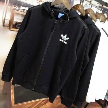 ADIDAS Clover autumn and winter trend men's plus velvet zipper cardigan hooded jacket black