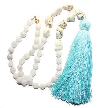 White Jade Gemstone & Crystal Beaded Blue Tassel Necklace