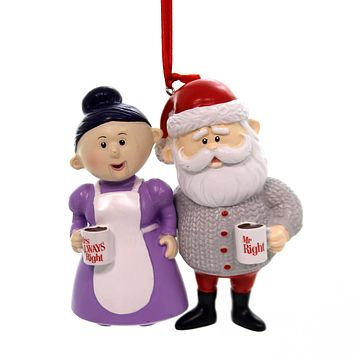 Holiday Ornaments MR RIGHT + MRS ALWAYS RIGHT Rudolph Santa Clause 6000497