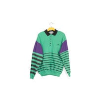 90s SUPER SOFT polo sweatshirt / vintage 1990s deadstock / long sleeve shirt / hip hop / wild / green & purple / stripes / grunge / medium