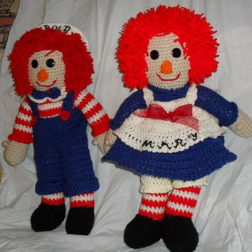 Handcrafted Crochet,  Raggedy Ann, Raggedy Andy, Dolls  Personalization And Customization, Size Color, Included - Special Order