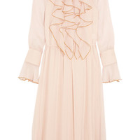 See by Chloé - Ruffled crinkled-chiffon midi dress