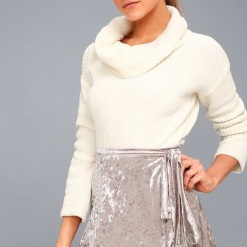Jayla Taupe Velvet Wrap Mini Skirt