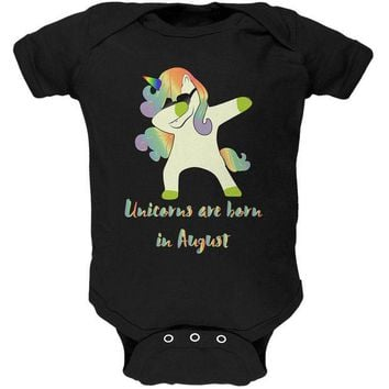 DCCKIS3 August Birthday Dabbing Unicorn Sunglasses Soft Baby One Piece