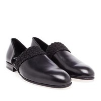 LOEWE | Braid Trimmed Leather Loafers | brownsfashion.com | The Finest Edit of Luxury Fashion | Clothes, Shoes, Bags and Accessories for Men & Women