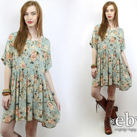 Vintage 90s Green Floral Babydoll Dress XL 1X 90s Grunge Dress 90s Floral Dress Floral Mini Dress Plus Size Dress Plus Size Vintage