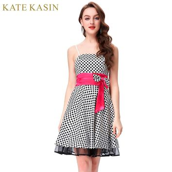 Sexy Spaghetti Strap Cocktail Dresses Black Polka Dots Short Special Occasion Dresses Cocktail Party Dress