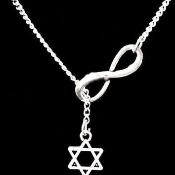 Infinity Small Star Of David Jewish Faith Gift Lariat Necklace