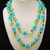 Vintage Green Blue flower necklace -  Lucite plastic beads - signed Empire - long opera length necklace 50 inches