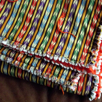 "Colorful Southwest Quilt Blanket ""Indian Feathers"""