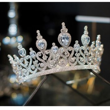 Gorgeous Stunning Wedding Cubic Zirconia Tiara Bridal Crown Queen Princess Pageant