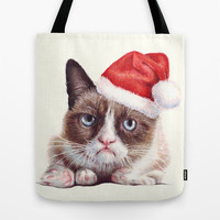 Grumpy Cat as Santa | Holidays Tote Bag by Olechka