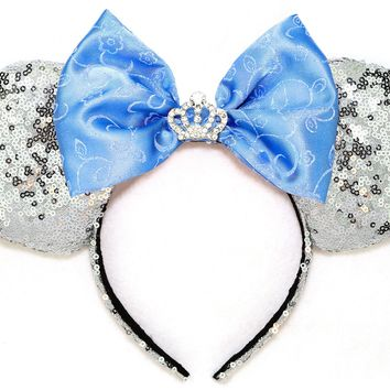 Cinderella Sequin Ears with Crown Blue Bow